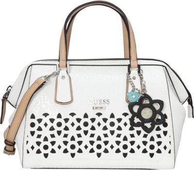 GUESS Bianco Nero Frame Satchel White - GUESS Manmade Handbags