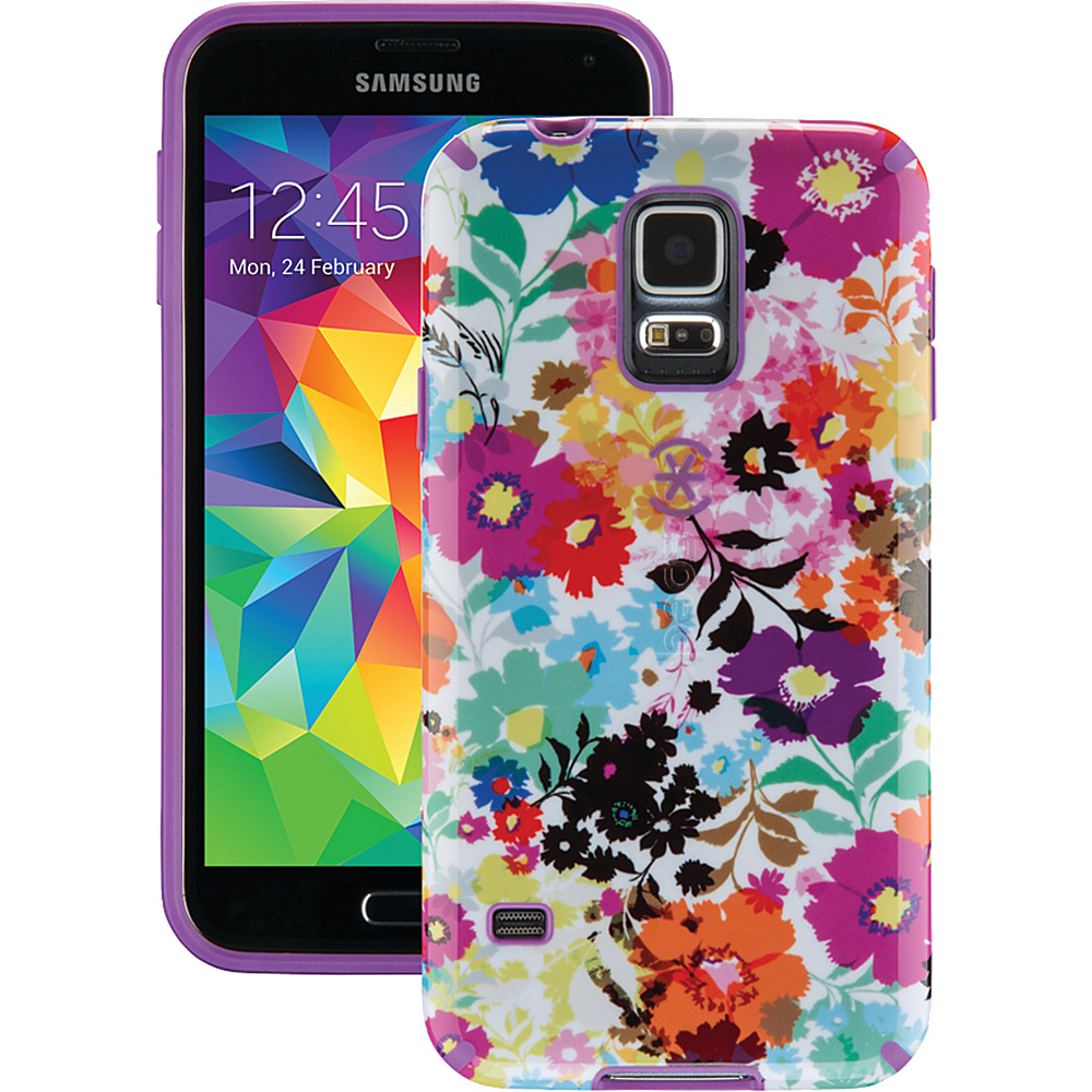 Speck Samsung Galaxy S5 Candyshell Inked Case Bold Blossoms White Revolution Purple Speck Electronic Cases