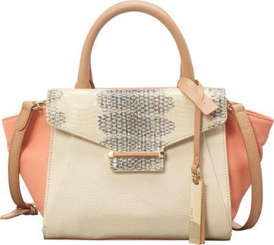 Vince Camuto Julia Small Satchel Ivory/Papaya - Vince Camuto Designer Handbags