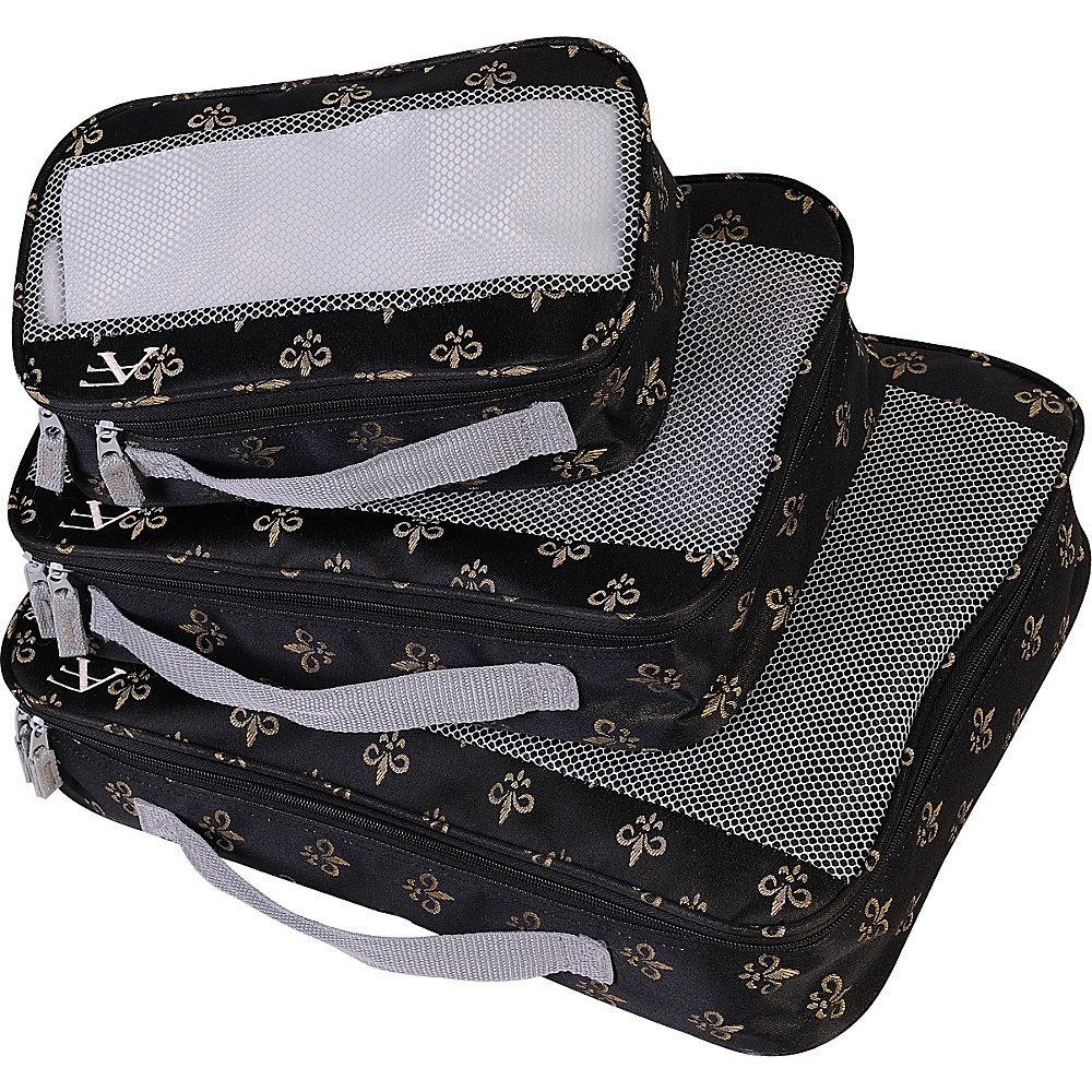 American Flyer Fleur de Lis 3 Piece Packing Set Black American Flyer Travel Organizers