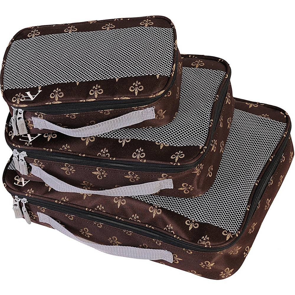 American Flyer Fleur de Lis 3 Piece Packing Set Brown American Flyer Travel Organizers