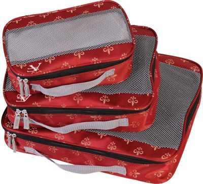American Flyer Fleur de Lis 3 Piece Packing Set Red - American Flyer Travel Organizers