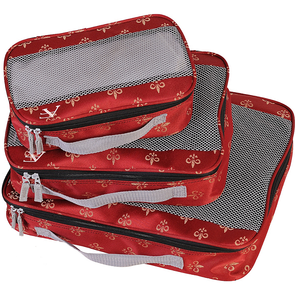American Flyer Fleur de Lis 3 Piece Packing Set Red American Flyer Travel Organizers