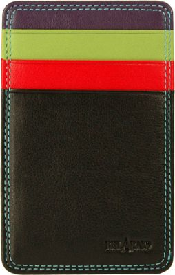 BelArno Flat Card Case with ID Black Rainbow Combination - BelArno Women's Wallets