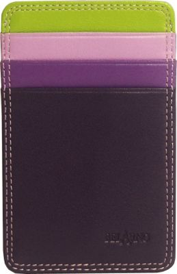 BelArno Flat Card Case with ID Purple Combination - BelArno Ladies Small Wallets