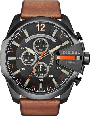 Diesel Watches Mega Chief Leather Watch Brown and Gunmetal - Diesel Watches Watches
