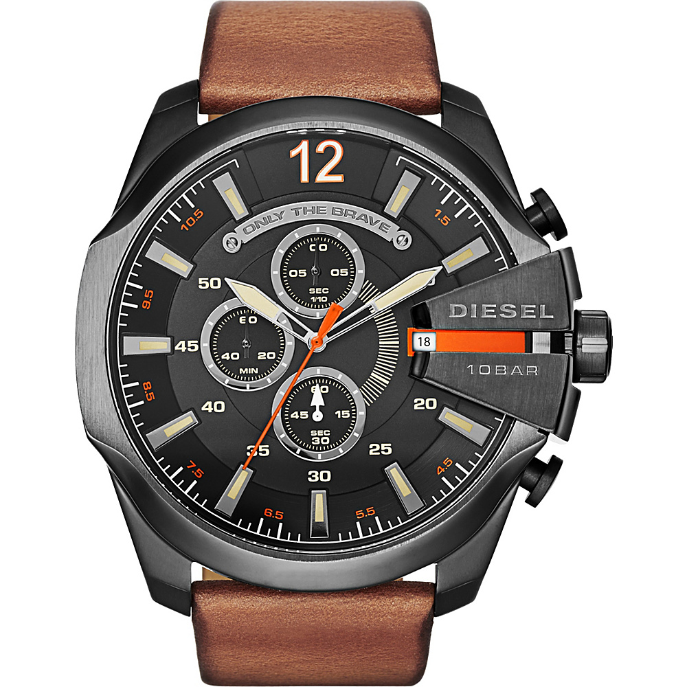 Diesel Watches Mega Chief Leather Watch Brown and Gunmetal Diesel Watches Watches