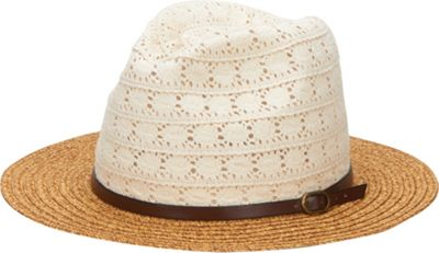 San Diego Hat Paper Braid Fedora with Lace Crown And Leather Band One Size - Natural - San Diego Hat Hats/Gloves/Scarves