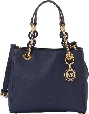 MICHAEL Michael Kors Cynthia Small N/S Satchel Navy - MICHAEL Michael Kors Designer Handbags