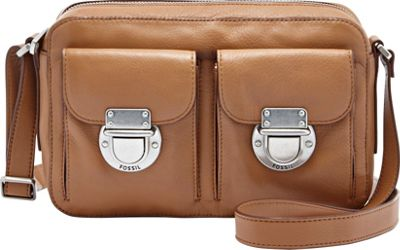 Fossil Riley Top Zip Camel - Fossil Leather Handbags
