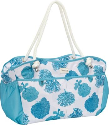 Fivesse Beach Tote Coral Blue - Fivesse Fabric Handbags