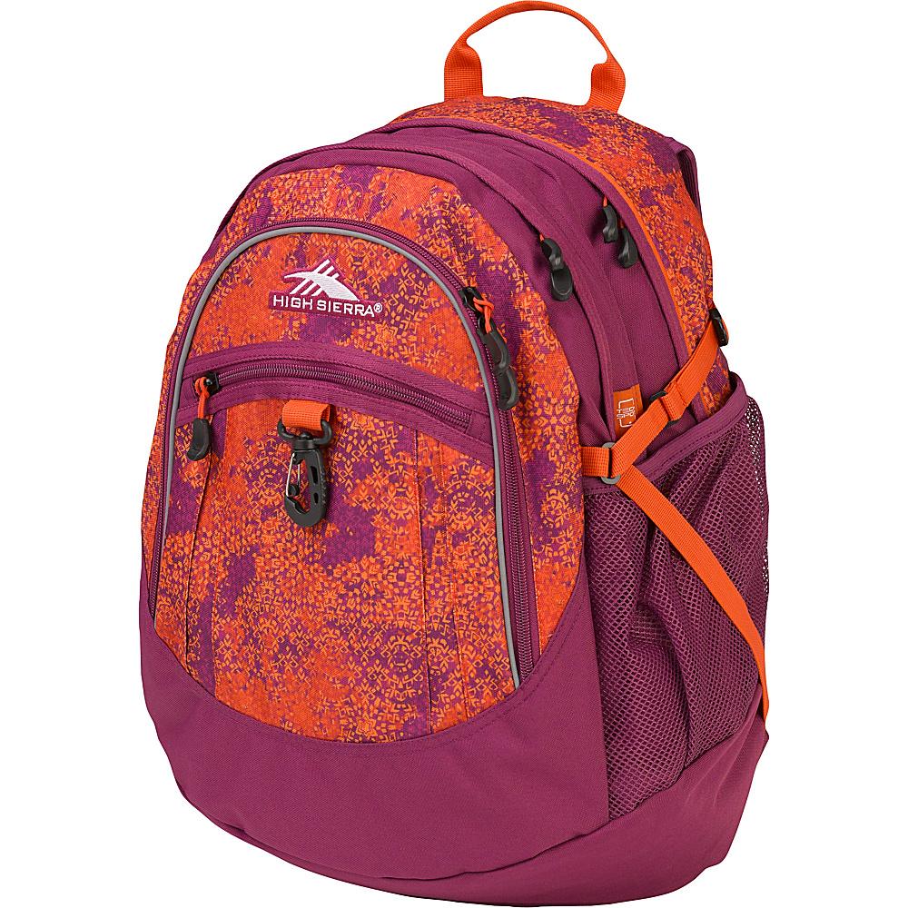 High Sierra Fat Boy Backpack Moroccan Tile/Berry Blast/Redline - High Sierra Everyday Backpacks