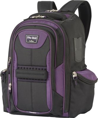 Travelpro T-Pro Bold 2.0 Computer Backpack Black & Purple - Travelpro Business & Laptop Backpacks