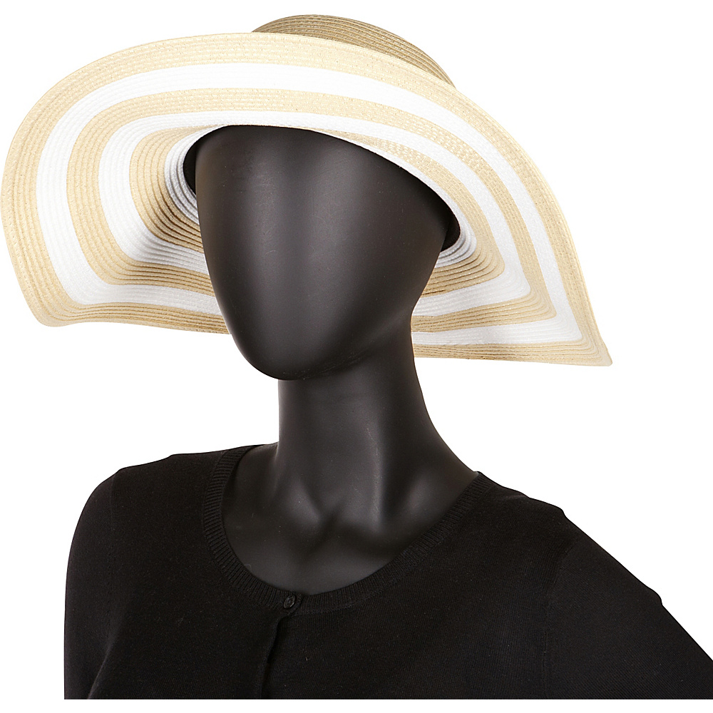 Betmar New York Demetria Wide Brim Hat One Size - White/Navy - Betmar New York Hats/Gloves/Scarves