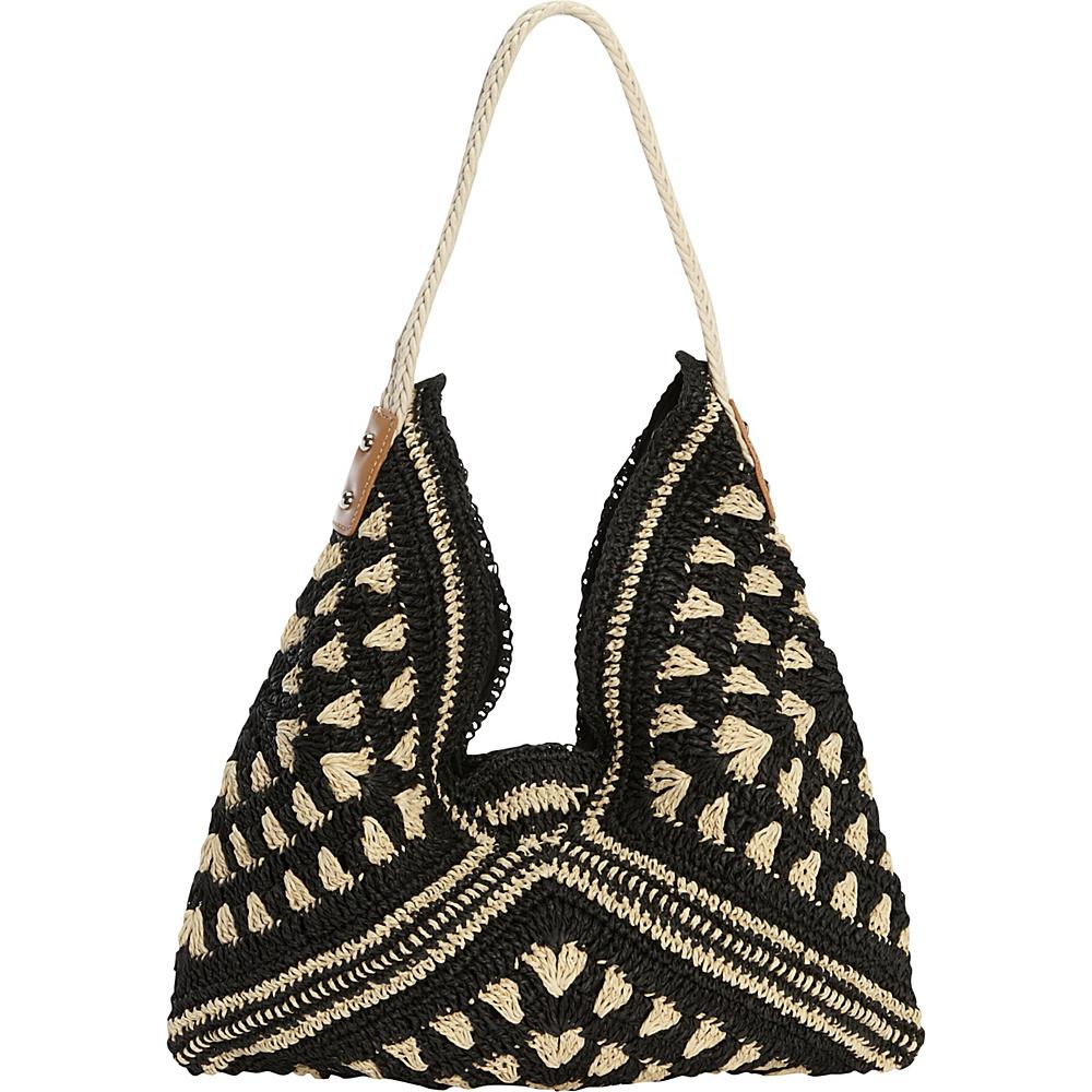 Magid Tribal Crochet Hobo Natural/Black - Magid Straw Handbags