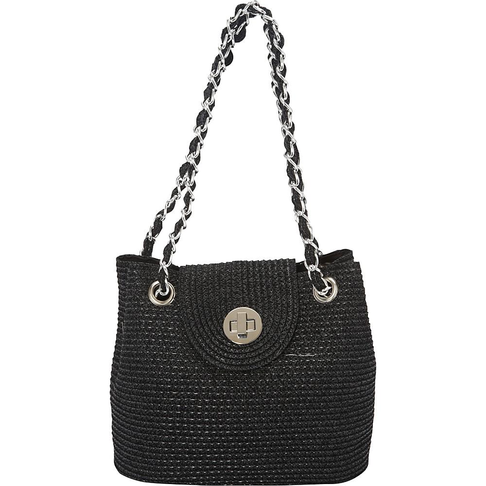 Magid Solid Paper Straw Mini Shoulder Bag Black - Magid Straw Handbags