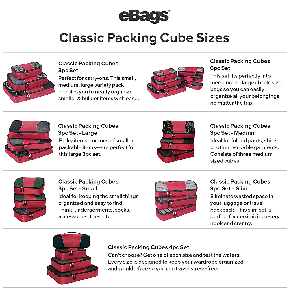 eBags-Packing-Cubes-4pc-Small-Med-Set-5-Colors-Travel-Organizer-NEW thumbnail 14