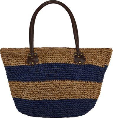 Cappelli Crochet Toyo Striped Bag Tan/Navy Stripes - Cappelli Straw Handbags