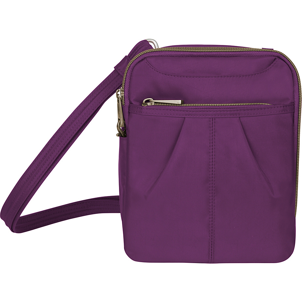 Travelon Anti-theft Signature Slim Day Bag Purple/Gray - Travelon Fabric Handbags - Handbags, Fabric Handbags