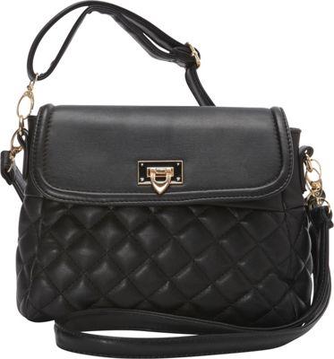 Image of Ashley M Fashion Quilted Vinyl Shoulder Bag Black - Ashley M Manmade Handbags