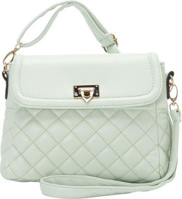Image of Ashley M Fashion Quilted Vinyl Shoulder Bag Mint - Ashley M Manmade Handbags