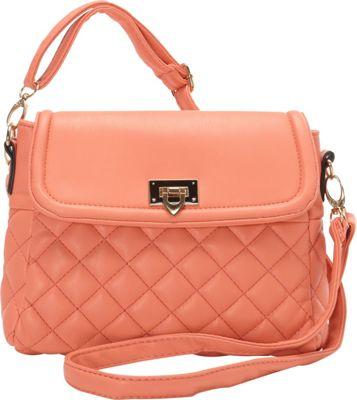 Image of Ashley M Fashion Quilted Vinyl Shoulder Bag Peach - Ashley M Manmade Handbags