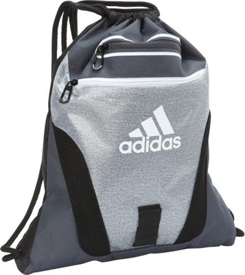 adidas Rumble Sackpack Heather Clear Grey/Deepest Space Grey/Black/White - adidas School & Day Hiking Backpacks