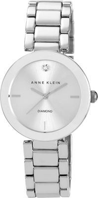 Anne Klein Watches Diamond-Accented Silver-Tone Bracelet Watch Silver - Anne Klein Watches Watches