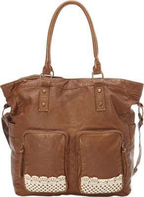 T-shirt & Jeans Washed Tote W/ Crochet Pockets Cognac - T-shirt & Jeans Manmade Handbags