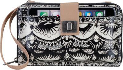 Sakroots Artist Circle Large Smartphone Crossbody Black and White One World - Sakroots Fabric Handbags