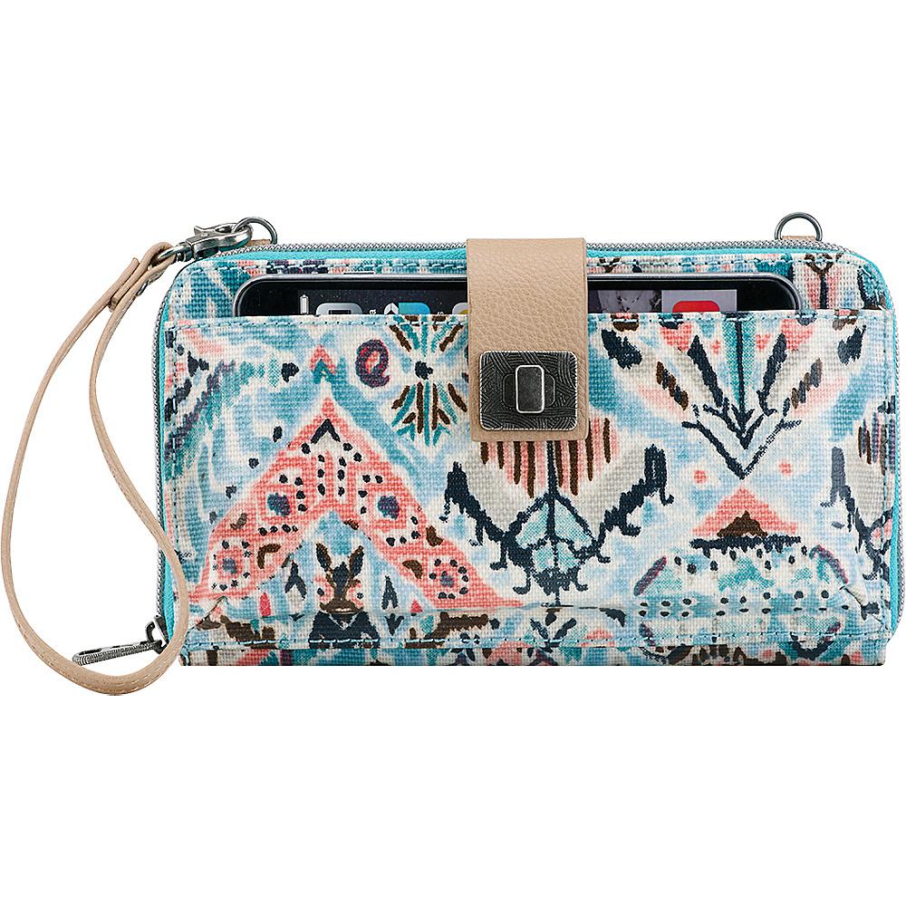 Sakroots Artist Circle Large Smartphone Crossbody Turq Brave Beauti - Sakroots Fabric Handbags - Handbags, Fabric Handbags