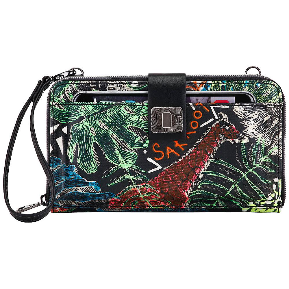 Sakroots Artist Circle Large Smartphone Crossbody Black Wild Life - Sakroots Fabric Handbags - Handbags, Fabric Handbags