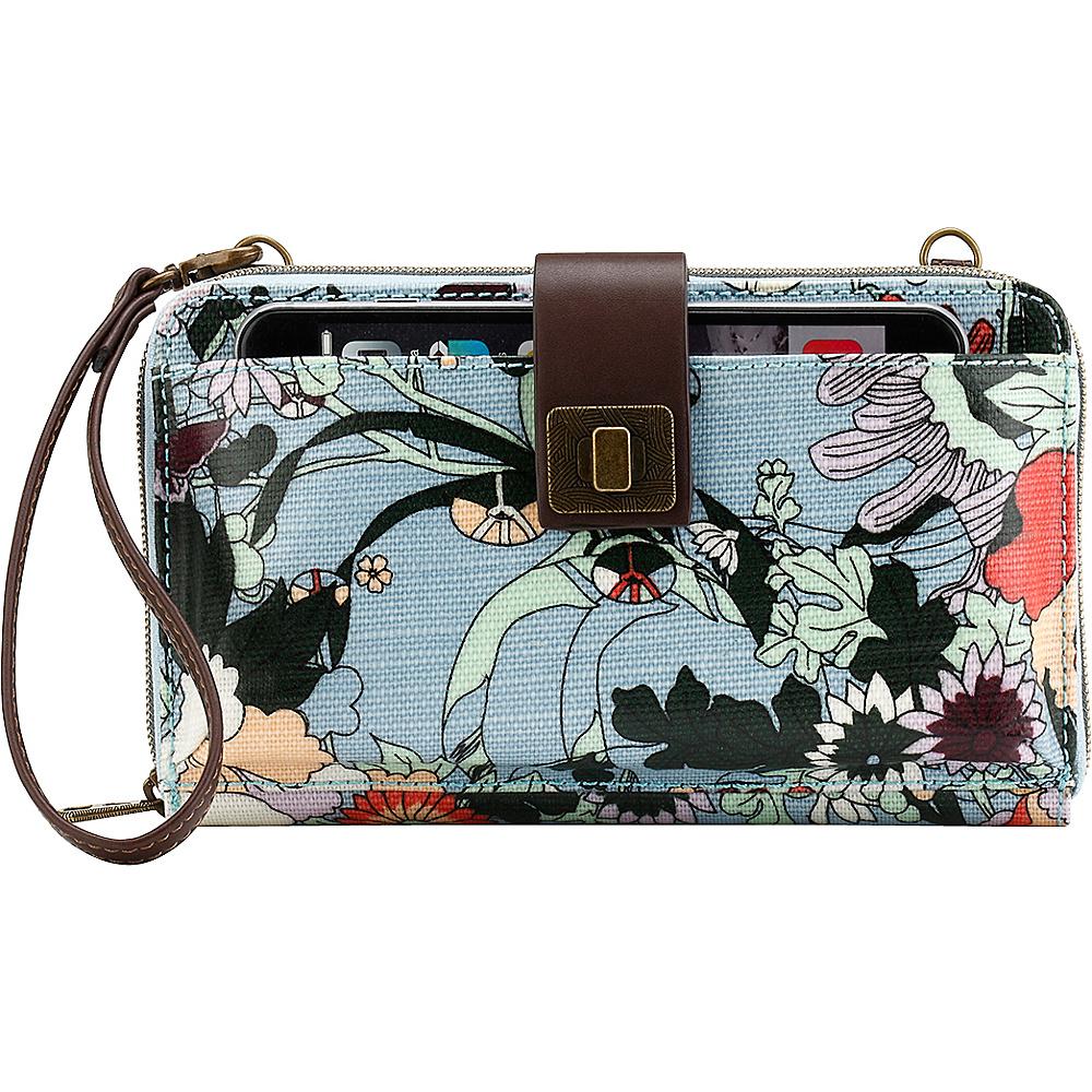 Sakroots Artist Circle Large Smartphone Crossbody Sky Blue Flower Power - Sakroots Fabric Handbags - Handbags, Fabric Handbags
