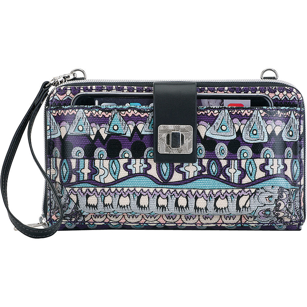 Sakroots Artist Circle Large Smartphone Crossbody Violet One World - Sakroots Fabric Handbags - Handbags, Fabric Handbags