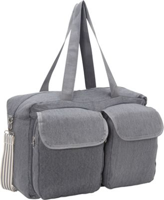 Sacs Collection by Annette Ferber Double Pocket Duffle Canvas Charcoal - Sacs Collection by Annette Ferber Travel Duffels
