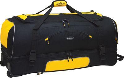 Travelers Club Luggage Adventure 30 inch 2-Section Drop Bottom Rolling Duffel Yellow/Black - Travelers Club Luggage Rolling Duffels