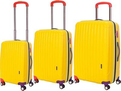Travelers Club Luggage Getaway 3PC Exp. Hardside Luggage Set Yellow - Travelers Club Luggage Hardside Luggage