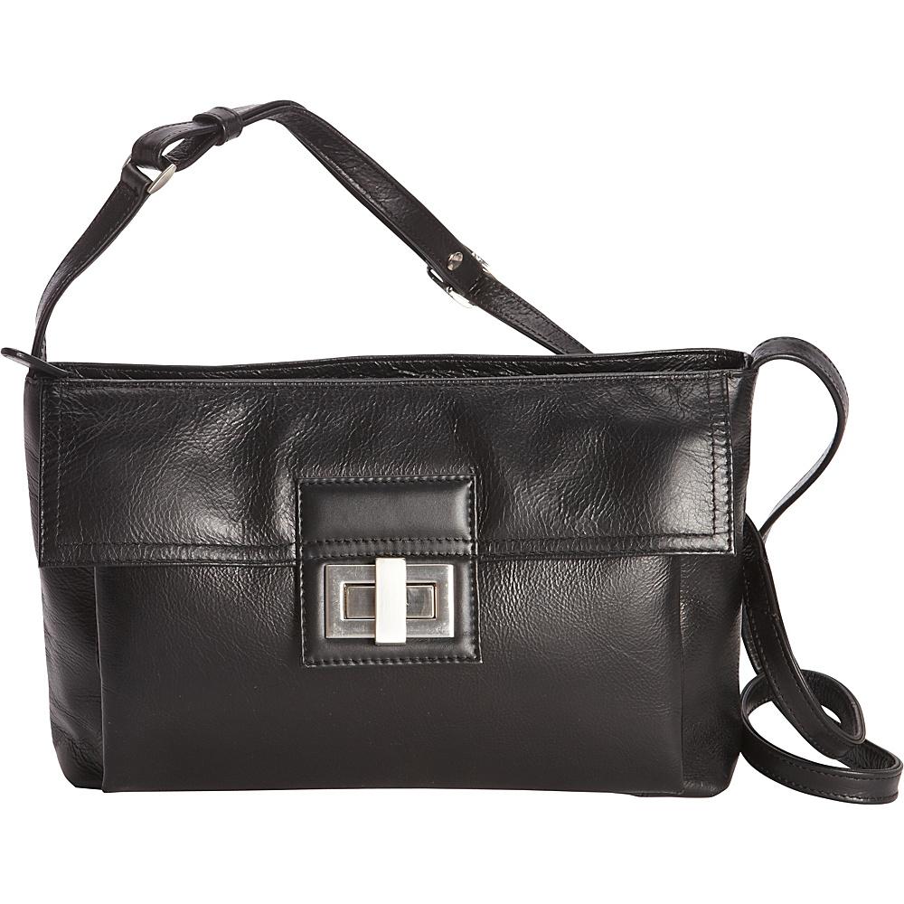 Derek Alexander Inset Top Zip Crossbody Black - Derek Alexander Leather Handbags - Handbags, Leather Handbags