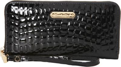 Leatherbay Croco Zip Around Clutch Black - Leatherbay Women's Wallets