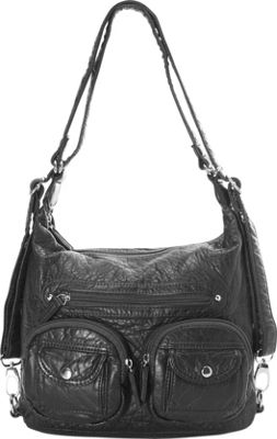 Image of Ampere Creations Mini Convertible Backpack Crossbody Purse Black - Ampere Creations Manmade Handbags