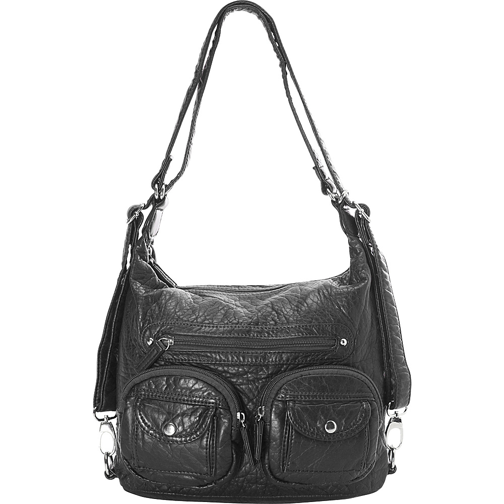 Ampere Creations Mini Convertible Backpack Crossbody Purse Black - Ampere Creations Manmade Handbags