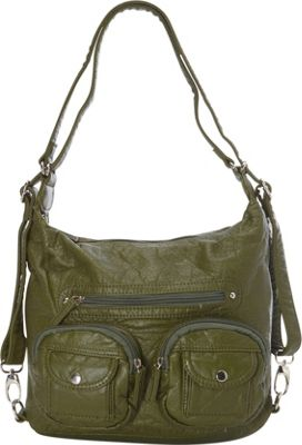 Image of Ampere Creations Mini Convertible Backpack Crossbody Purse Army Green - Ampere Creations Manmade Handbags