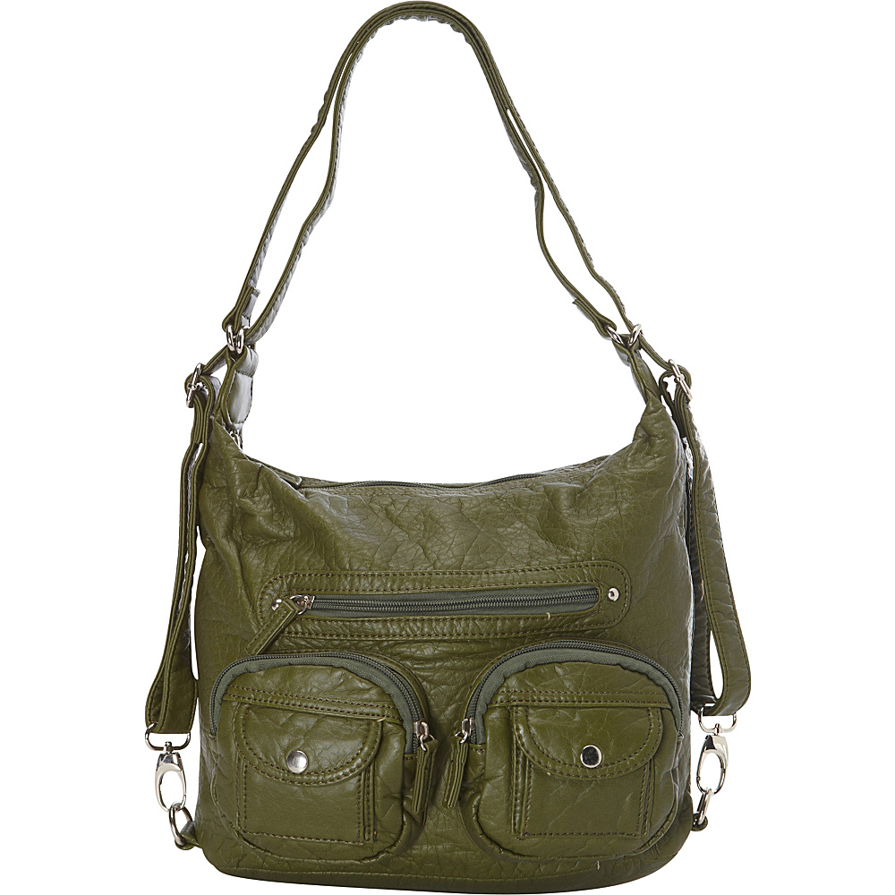 Ampere Creations Mini Convertible Backpack Crossbody Purse Army Green - Ampere Creations Manmade Handbags
