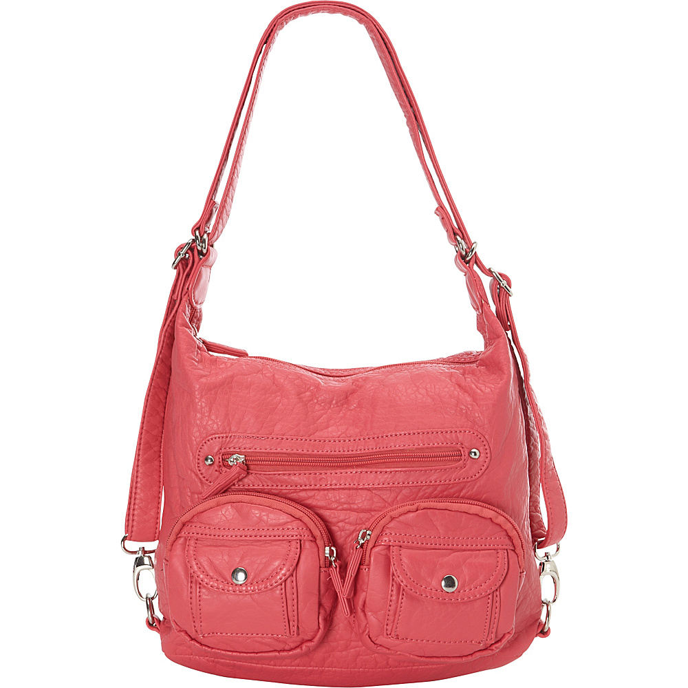 Ampere Creations Mini Convertible Backpack Crossbody Purse Coral - Ampere Creations Manmade Handbags