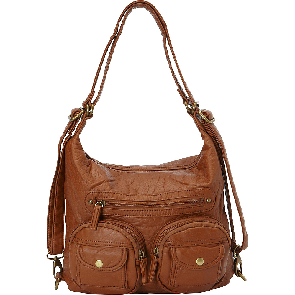 Ampere Creations Mini Convertible Backpack Crossbody Purse Light Brown - Ampere Creations Manmade Handbags