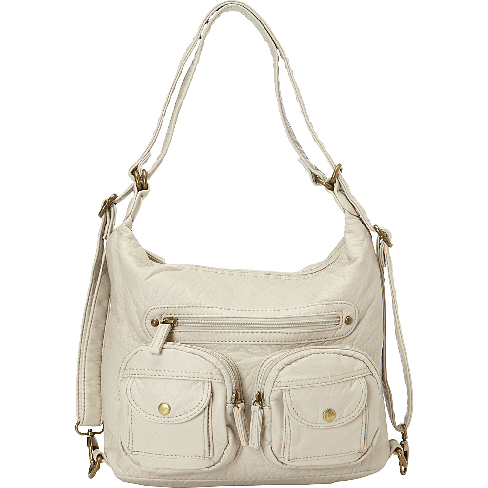 Ampere Creations Mini Convertible Backpack Crossbody Purse Taupe - Ampere Creations Manmade Handbags