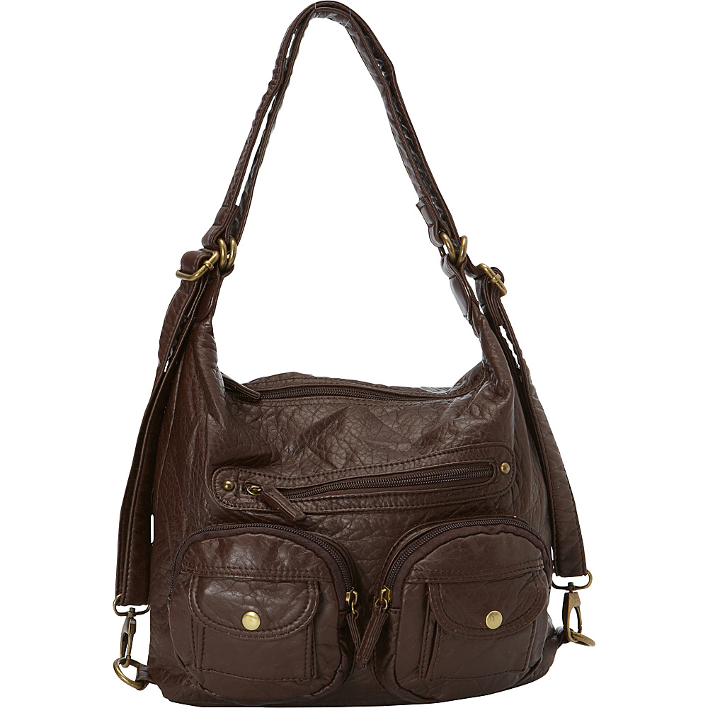 Ampere Creations Mini Convertible Backpack Crossbody Purse Chocolate Brown - Ampere Creations Manmade Handbags