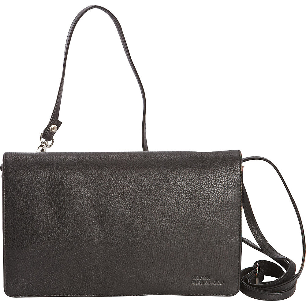 Derek Alexander Full Flap,  Multi Compartment Organizer Crossbody Black - Derek Alexander Leather Handbags