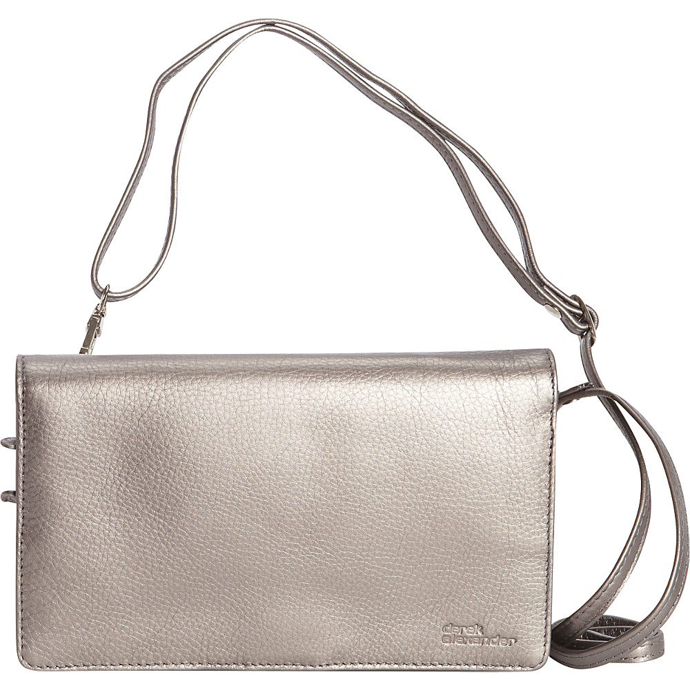 Derek Alexander Full Flap,  Multi Compartment Organizer Crossbody Silver - Derek Alexander Leather Handbags
