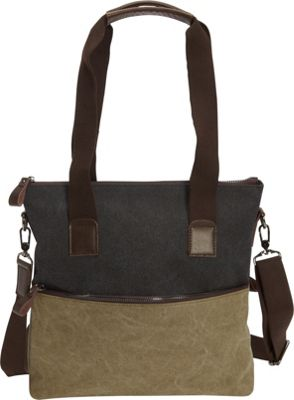 Journey Collection by Annette Ferber The Inverness Shoulder Bag Black / Olive - Journey Collection by Annette Ferber Fabric Handbags